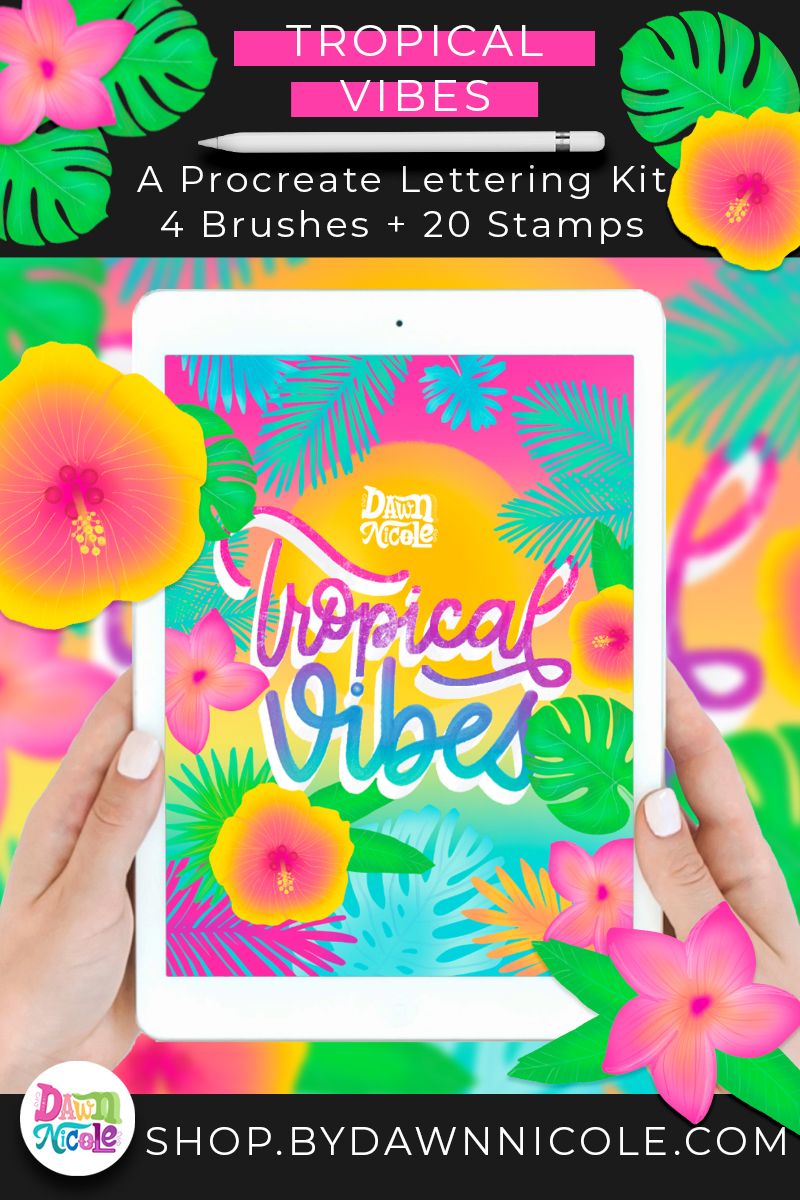 Tropical Vibes Procreate Lettering Kit. My newest Procreate Brush Bundle is full of vacation vibes. 4 new brushes, 20 hand-drawn stamps, and my tropical color palette.