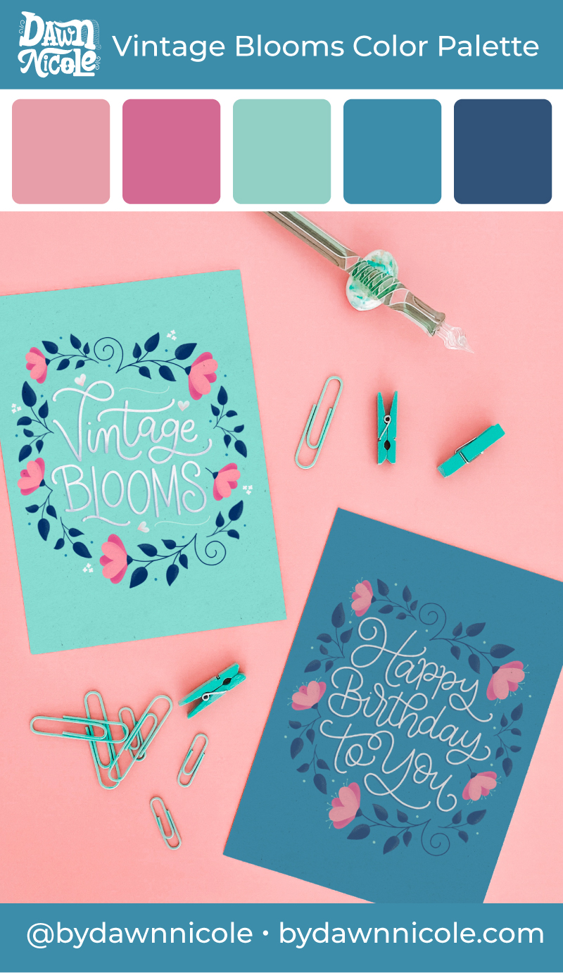 """Vintage Blooms Color Palettes. Grab the color palette I used for my hand-lettered """"Happy Birthday to You"""" artwork + tips for how to use colors in your designs!"""