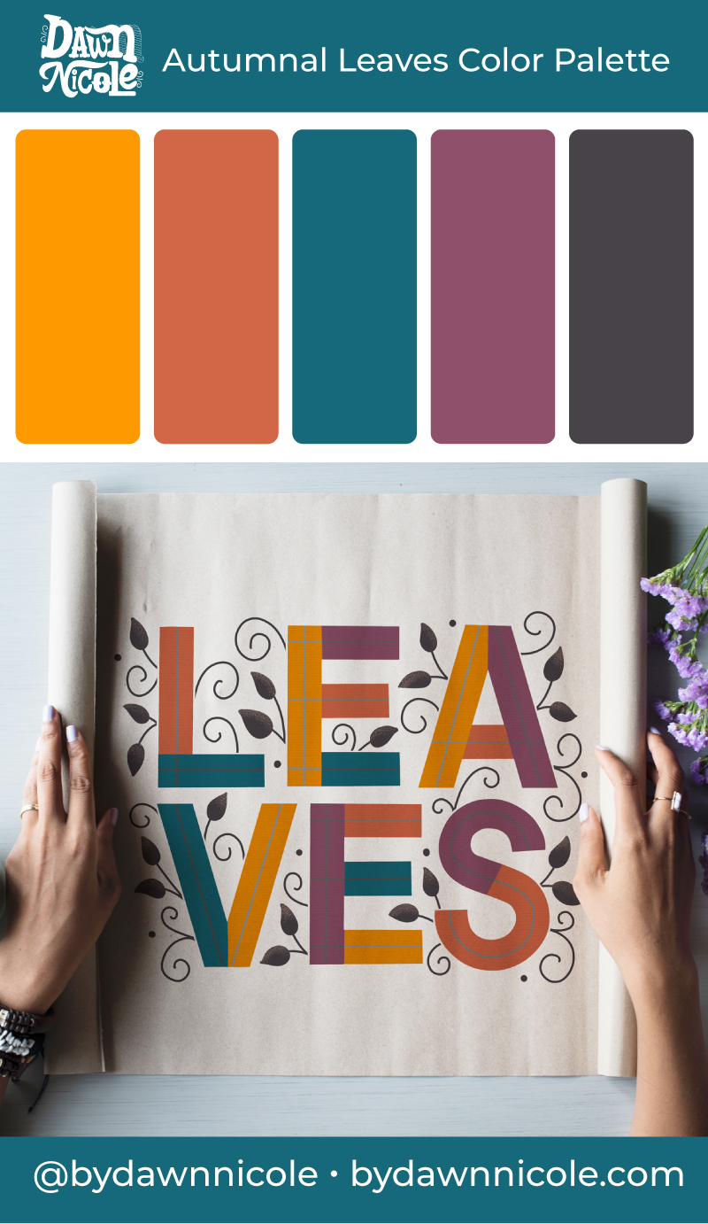 Autumnal Leaves Color Palette. Get this free Autumnal color palette, plus a few tips to level up your lettering!