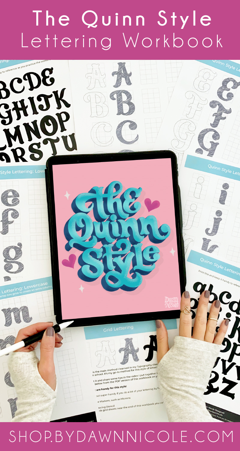 Quinn Lettering Style Workbook + Video Lesson. Learn how to draw this fun serif style of lettering in my newest workbook!