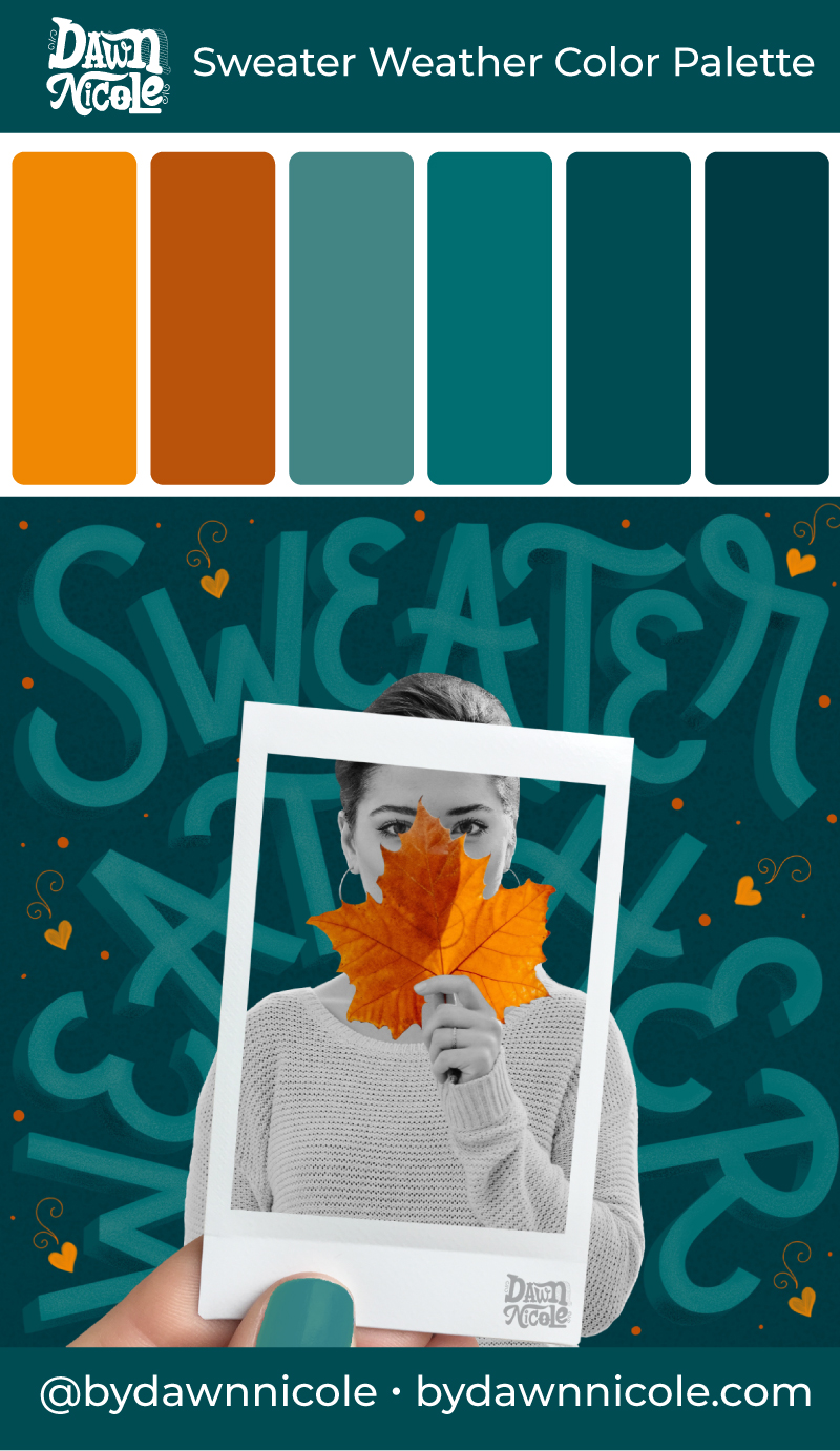 Sweater Weather Color Palette. Get this free Fall color palette, plus a few tips to level up your lettering!
