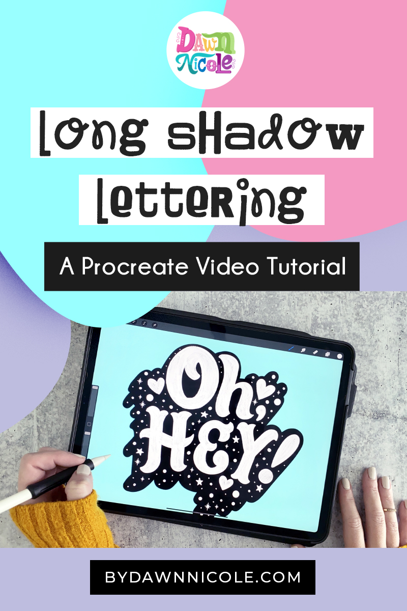 Long Shadow Lettering: Procreate Video Tutorial. Create this textured lettering with a long shadow and illustrations in five simple steps!