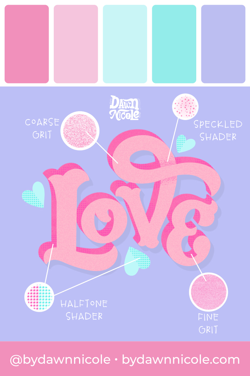 "Purple Sky Color Palette. This free color palette is featured in my Quinn Serif Style Textured ""Love"" Lettering."