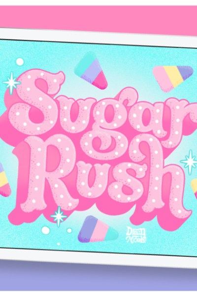 """Sugar Rush Color Palette. Grab the free color palette I used to create this """"Sugar Rush"""" hand lettering in the Procreate app!"""
