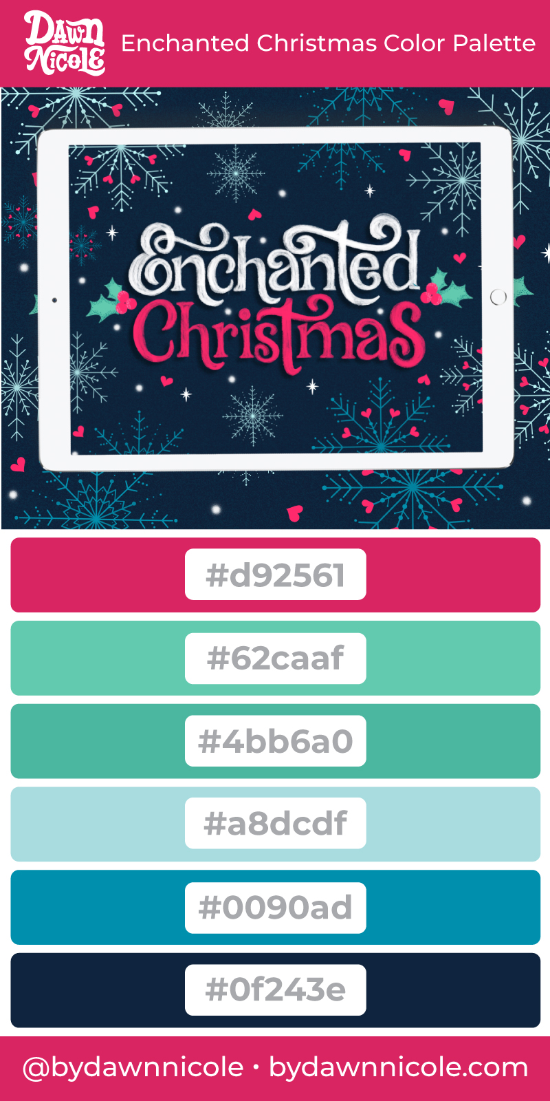 Enchanted Christmas Color Palette. Grab the free color palette I used to create this festive hand-lettered artwork in the Procreate app!