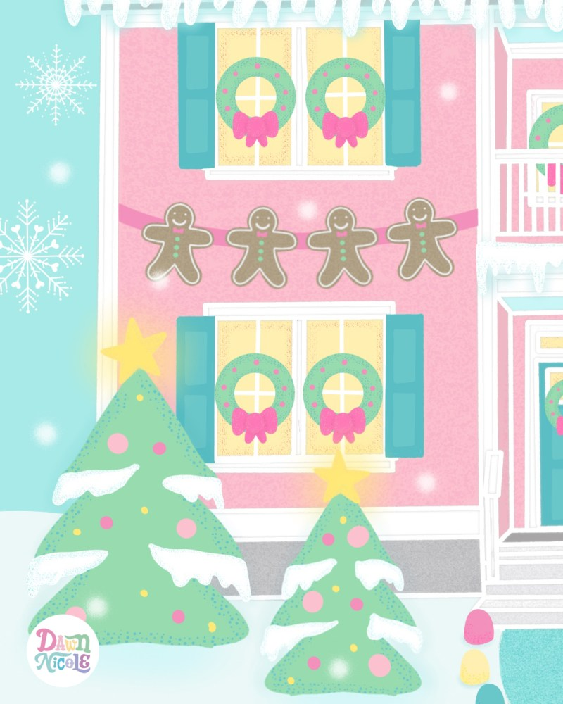 Procreate Illustration: Winter Wonderland Home. How to turn your home into an adorable gingerbread house inspired illustration!