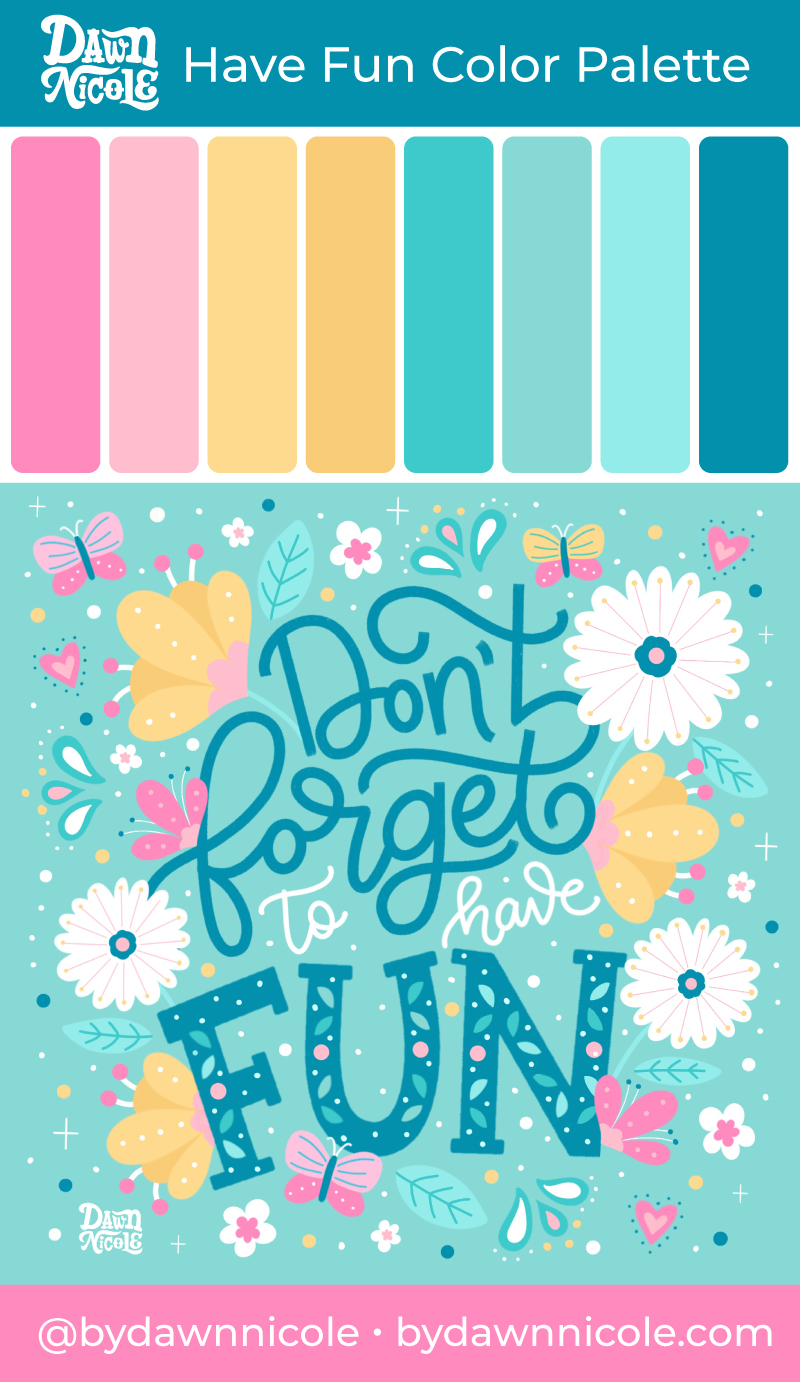Have Fun Color Palette. Grab the playful color palette I used to create this folk art style lettering in the Procreate app!