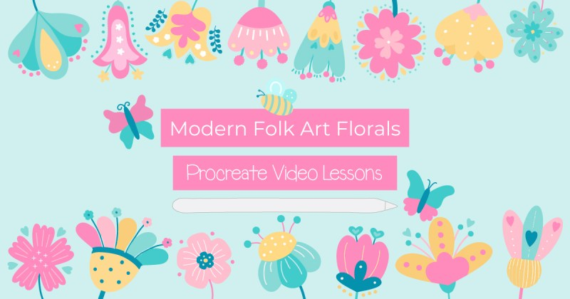 Modern Folk Art Florals Procreate Video Series. Follow along with my video lessons to learn 32 styles of Folk Art Flowers!