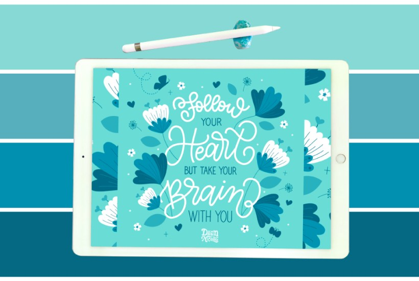 Rainy Day Color Palette. Grab the bluesy color palette I used to create this motivational hand lettering in the Procreate app!