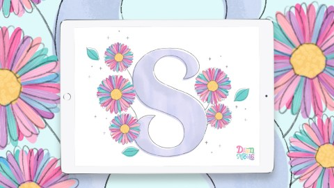 September Birth Flowers Drop Cap Tutorial. Follow along with my video on Procreate tips for creating this whimsical, childlike letter S.