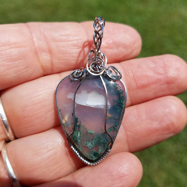 Moss Agate stainless wire wrap pendant