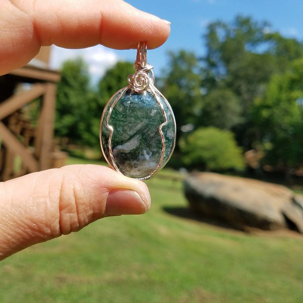 Moss Agate silver wire wrap