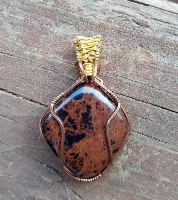 Red Jasper Copper Wire Pendant
