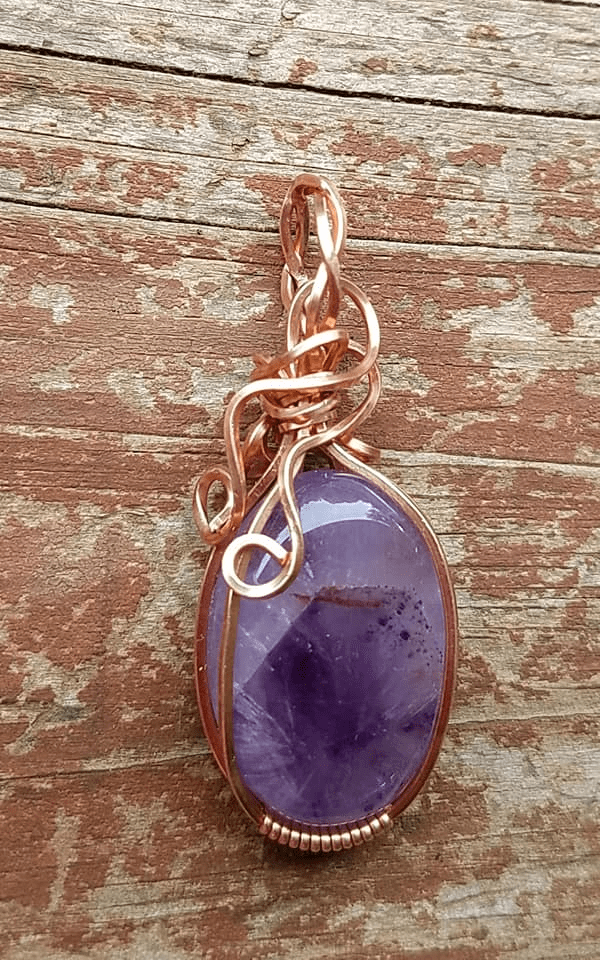 Amethyst Copper Wire Wrap Pendant