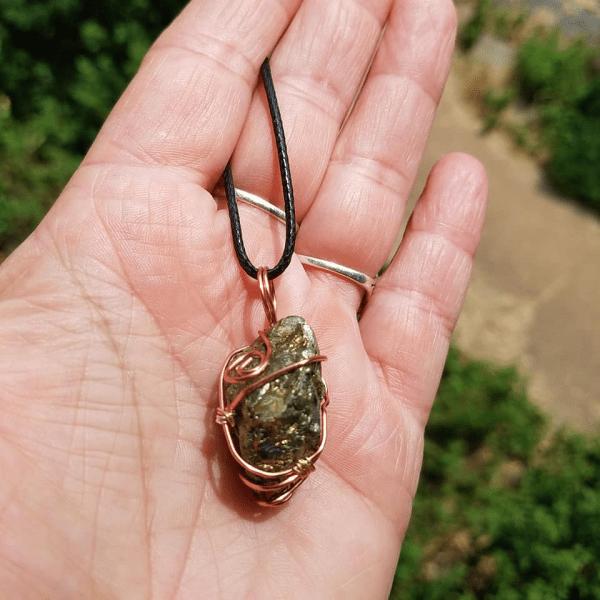 Pyrite copper wire wrap pendant