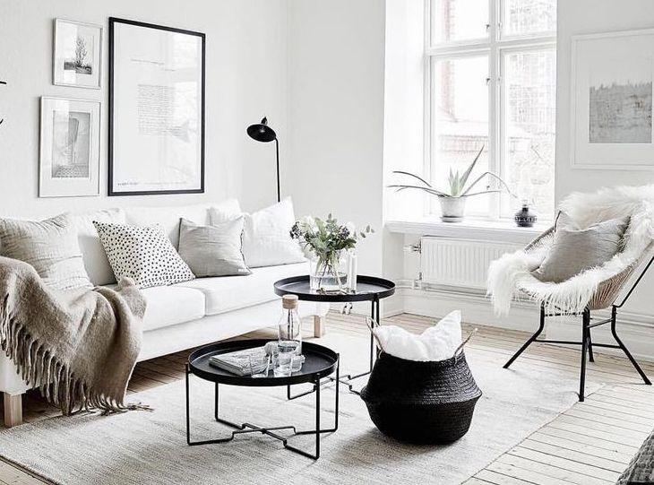 recreate this scandinavian snow white living room