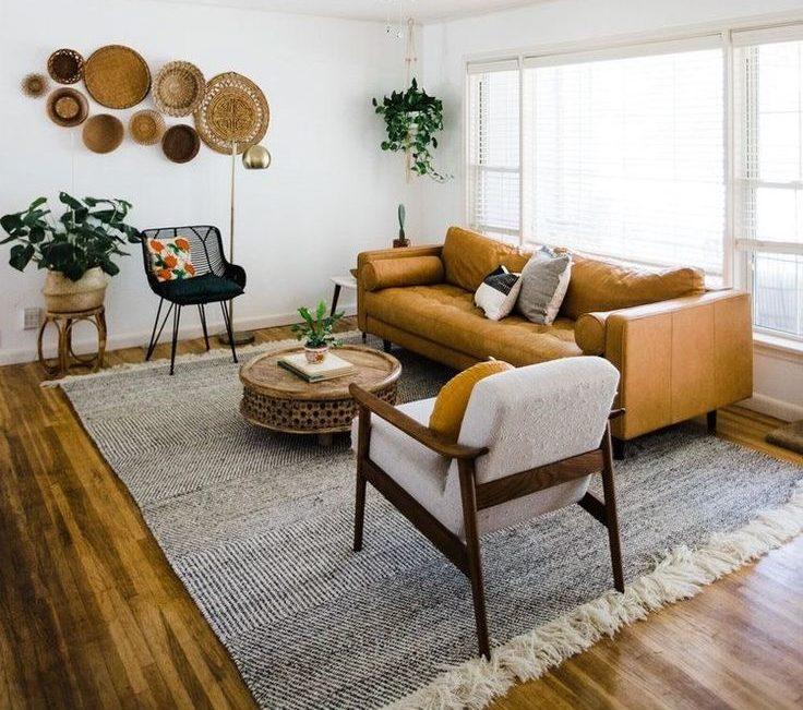 midcentury living room with wall baskets decor courtesy of retrodentulsa.com