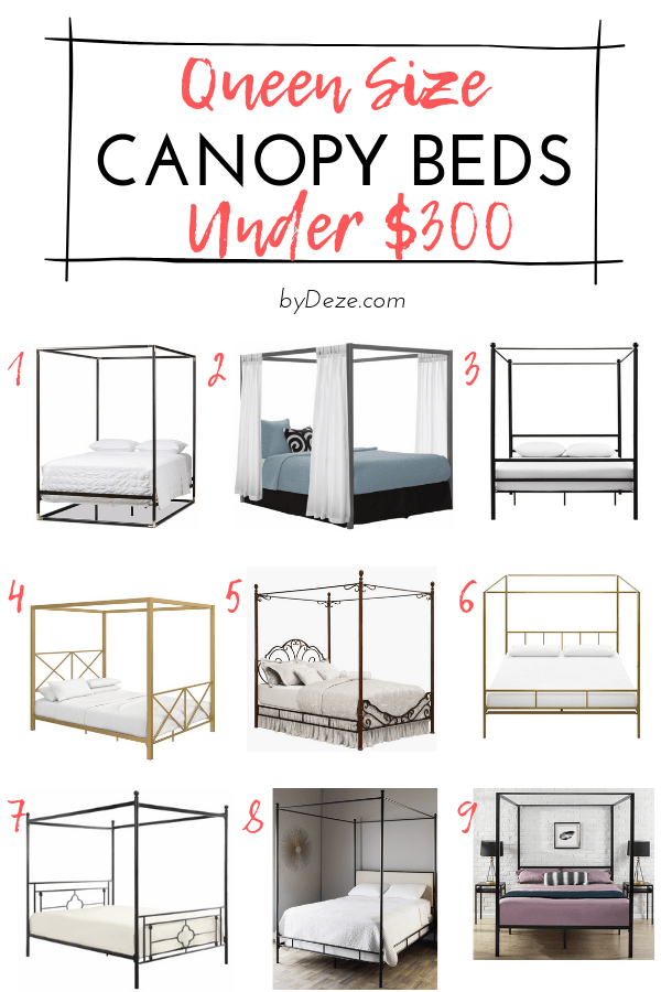 graphic list of 9 queen size canopy beds