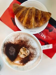 coffee and croissant to eat during travel to Paris