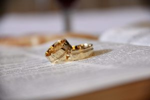 marriage rings set on a bible