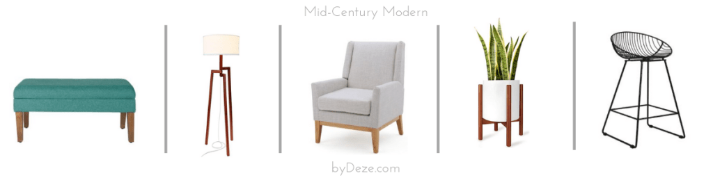 five mid-century styled home decor items: a bench, lamp. chair, planter and bar chair