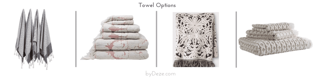 4 bath towel options that can be incorporated in the bathroom mood board