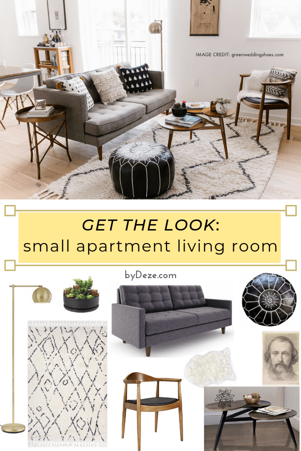 get the look with pictures of the items from this small apartment living room decor
