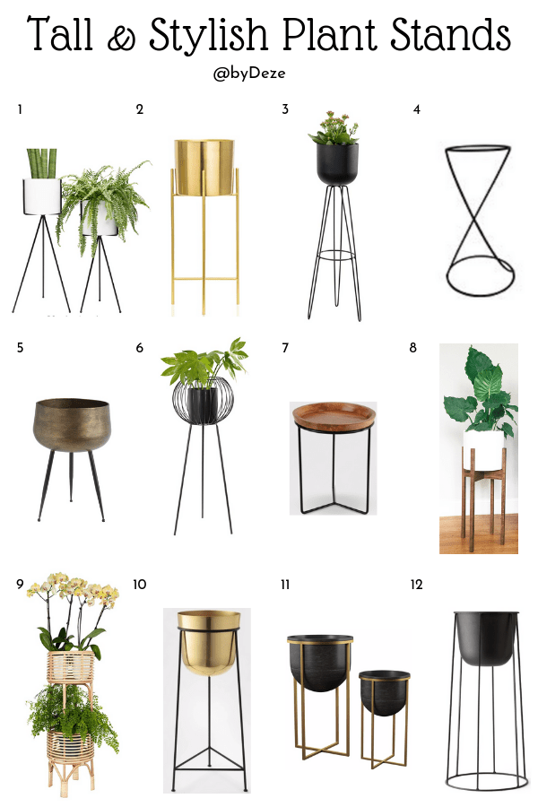 a poster of 12 different tall, modern and stylish plant stands