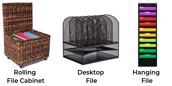 3 different types of filing systems: rolling file cabinet, desktop file system and hanging file system