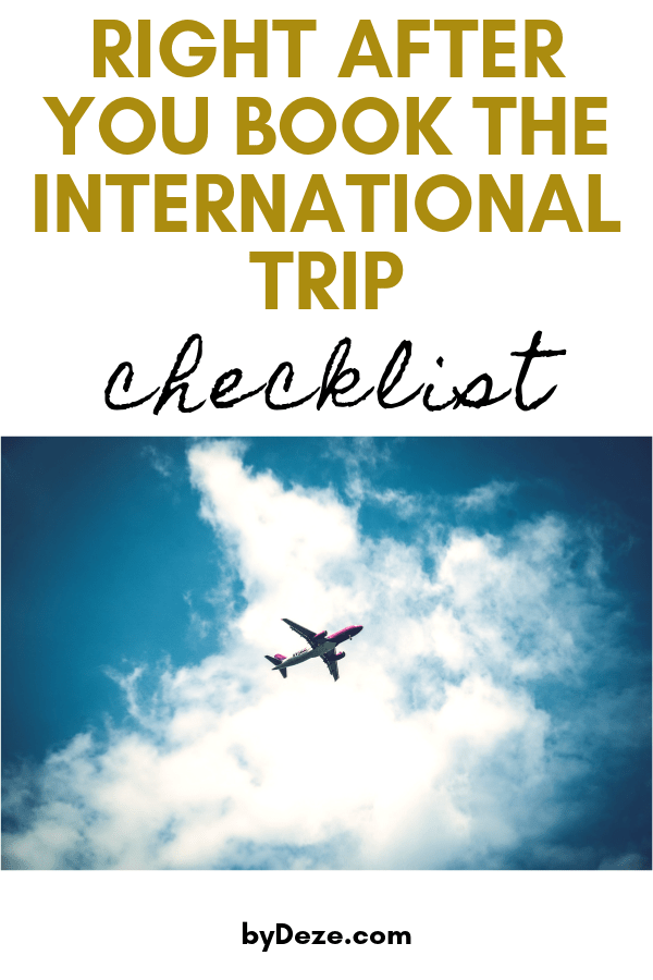 right after you book the international trip checklist picture of a plane in the clouds
