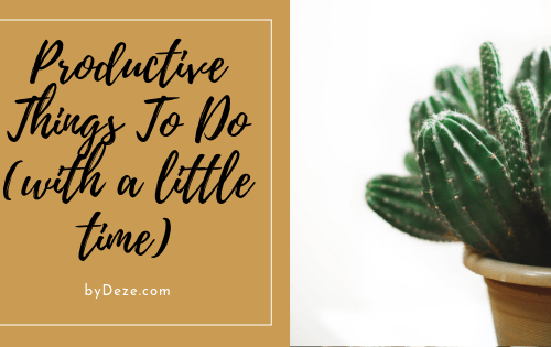 header saying productive things to do with a little time. on the right side is a succulent in a pot
