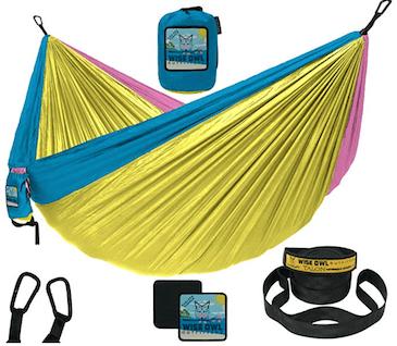 a bright camping hammock