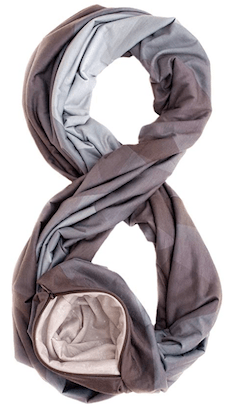 this is an infinity scarf with a hidden pouch so that you can keep important travel documents hidden
