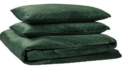 feel cozy and stay cozy with this green quilt set for the home