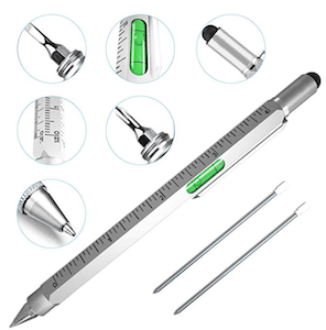 one of the best gift ideas for guys is this 6-in-1 pen gadget which can be used in so many ways