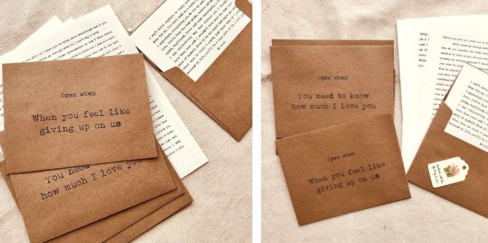 brown envelopes with open when letter ideas for boyfriends and partners