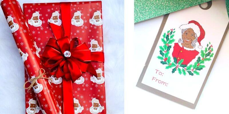 black christmas gift wrap and gift tags