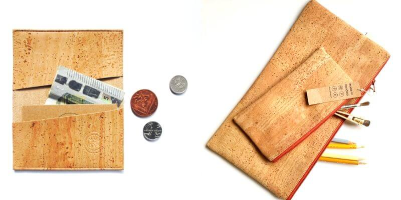 cork vegan leather pouch and wallet from etsy