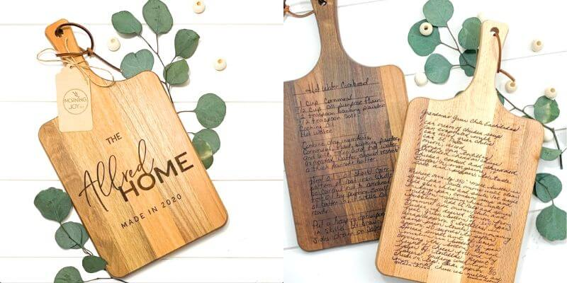 personalized cutting boards engraved with recipe