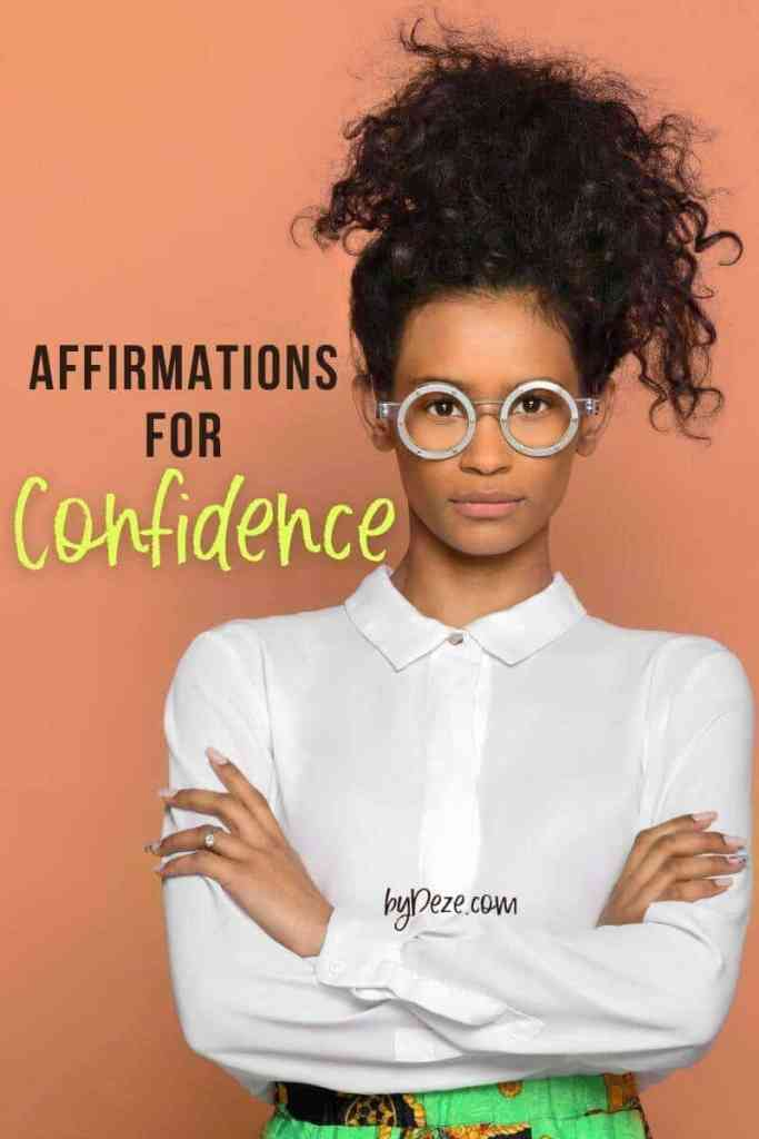 affirmations for confidence banner showing girl boss in power pose
