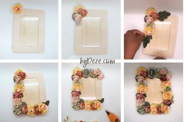 step by step diy of flower picture frame