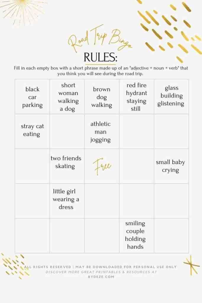 road trip bingo printable template