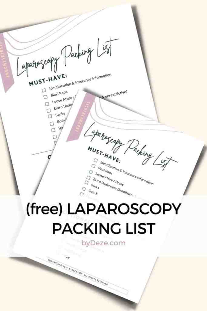 a laparoscopy packing list that can be printed out for free