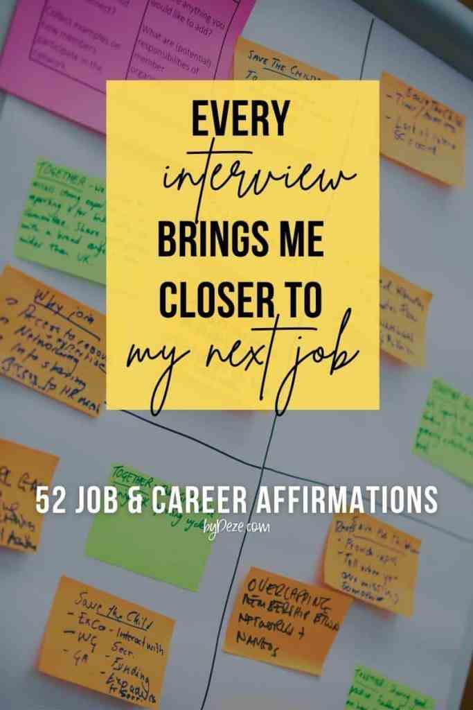 job interview affirmation - post its
