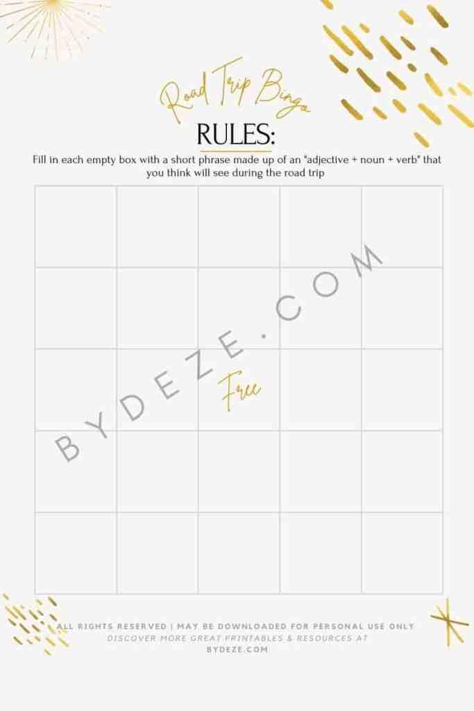 road trip bingo printable board