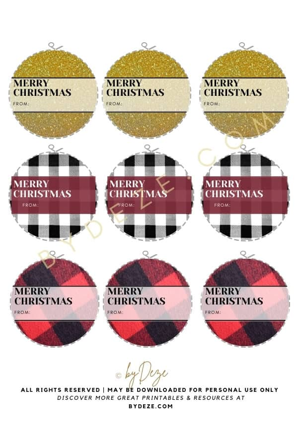 plaid and tartan christmas gift tags for free download