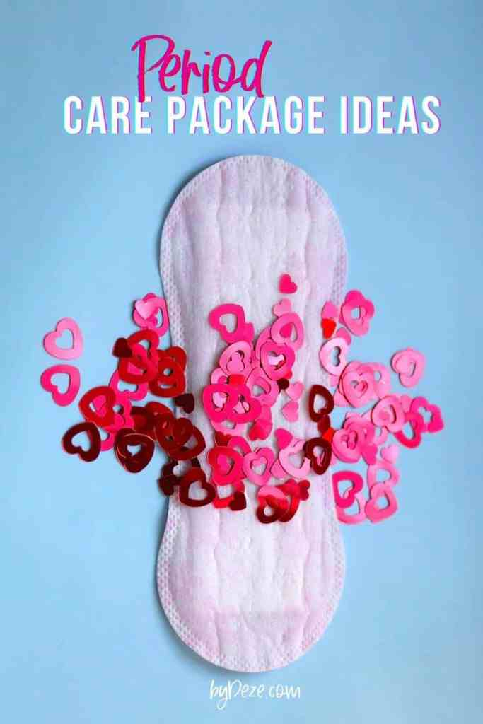 period care package ideas - image of a pad with red and pink sprinkles