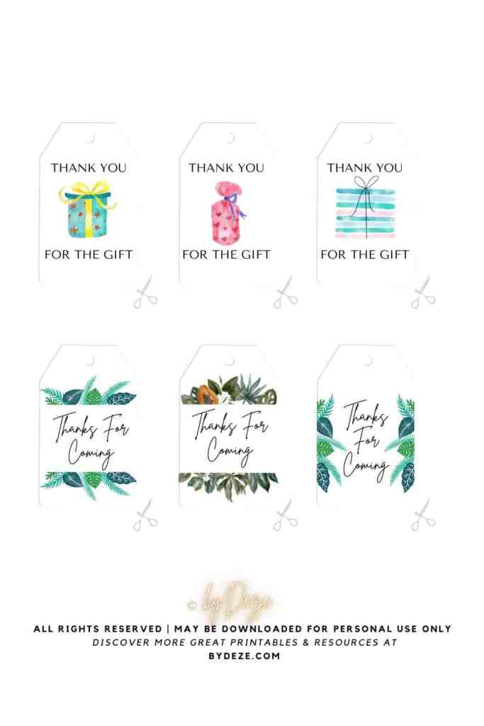 6 printable baby shower tags for gifts and favors - free