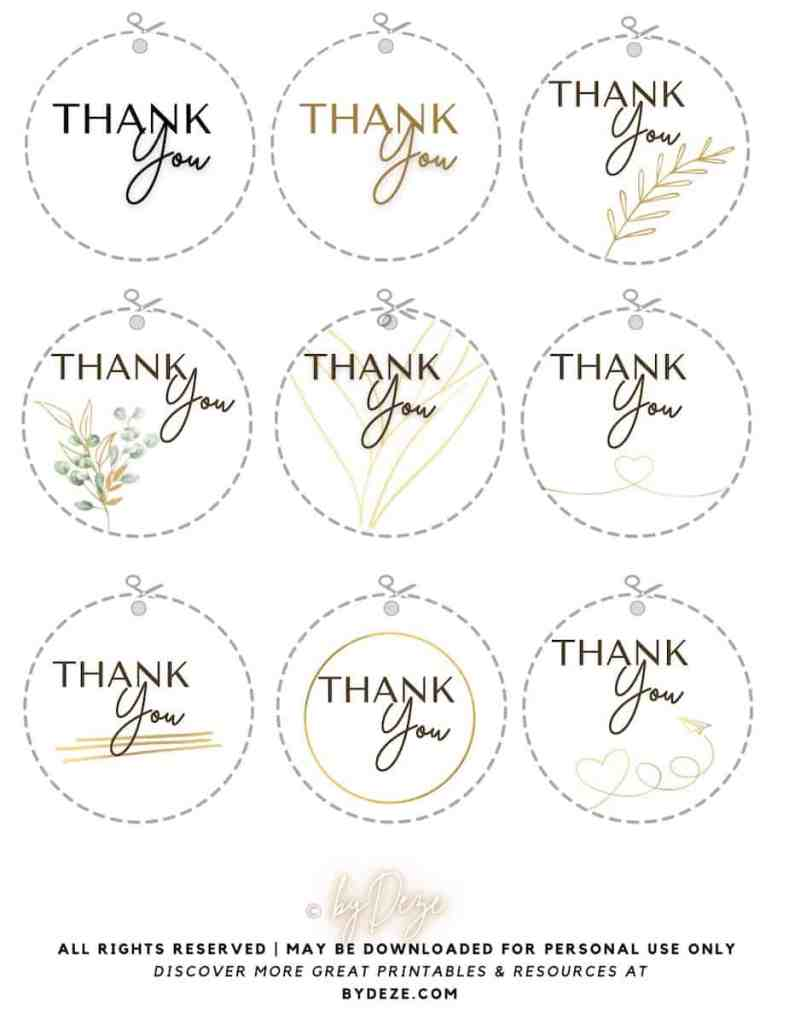free round thank you gift tags to print