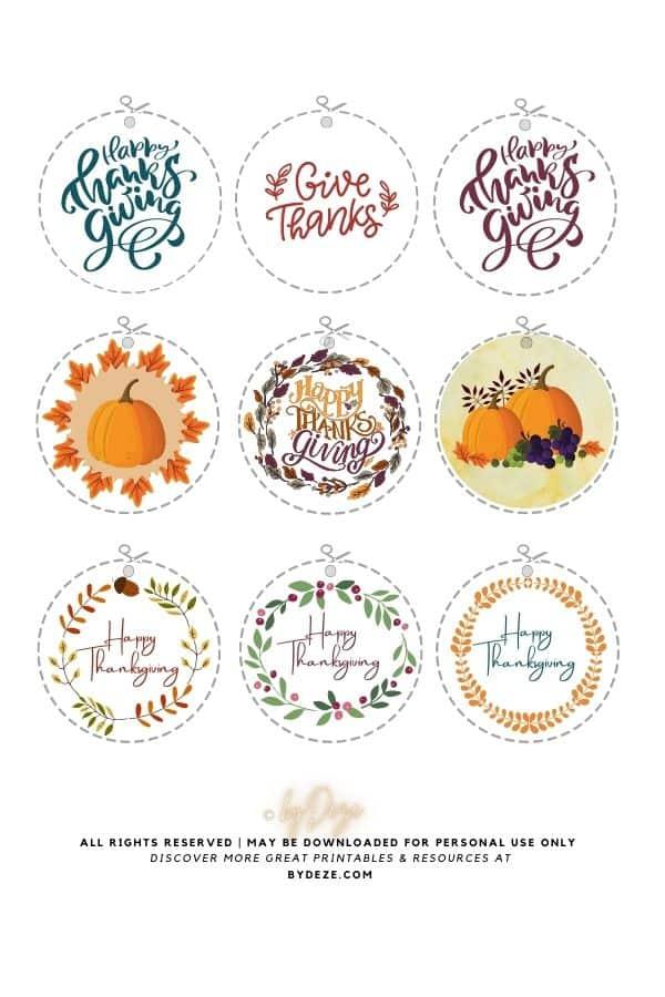 round free printable thanksgiving gift tags